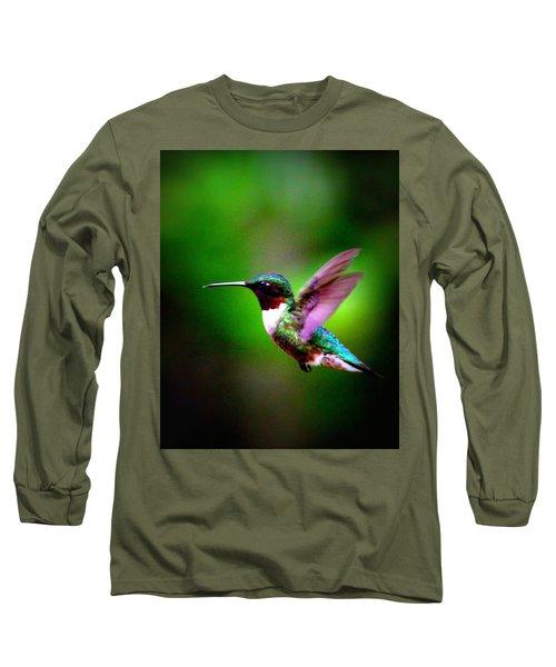 1846-007 - Ruby-throated Hummingbird Long Sleeve T-Shirt by Travis Truelove