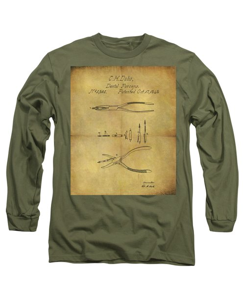 1848 Dental Forceps Patent Long Sleeve T-Shirt by Dan Sproul
