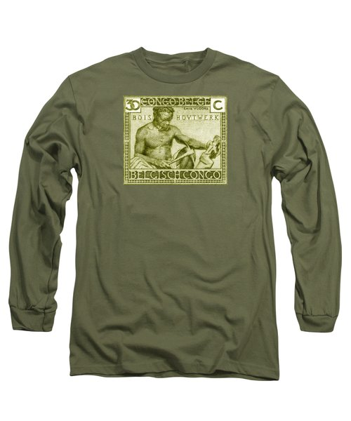 Long Sleeve T-Shirt featuring the painting 1925 Belgian Congo Native Woodcarving by Historic Image