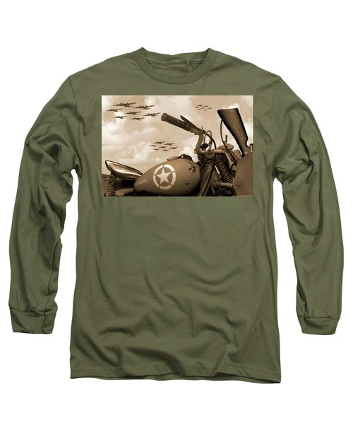 Long Sleeve T-Shirt featuring the photograph 1942 Indian 841 - B-17 Flying Fortress - H by Mike McGlothlen