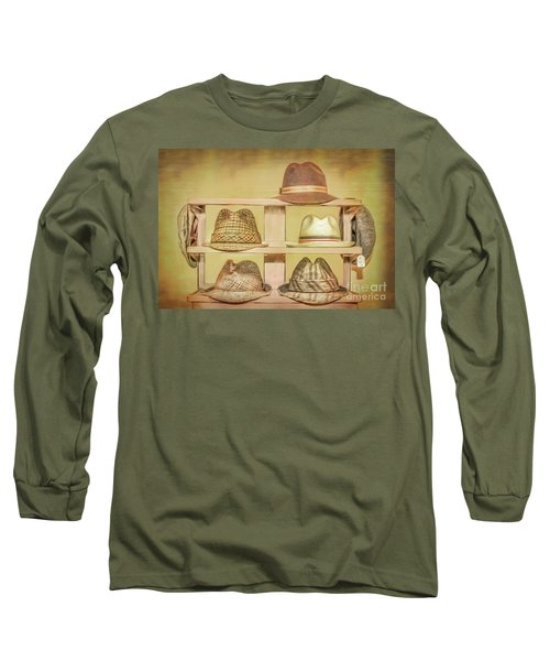 1950s Hats Long Sleeve T-Shirt by Marion Johnson