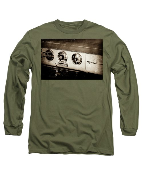 Long Sleeve T-Shirt featuring the photograph 1955 Ford Fairlane Dashboard Emblem -0444s by Jill Reger