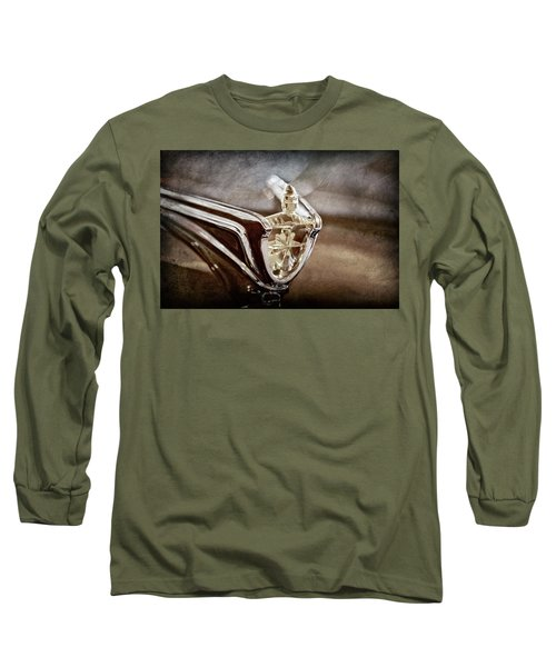 Long Sleeve T-Shirt featuring the photograph 1956 Lincoln Premiere Convertible Hood Ornament -2797ac by Jill Reger
