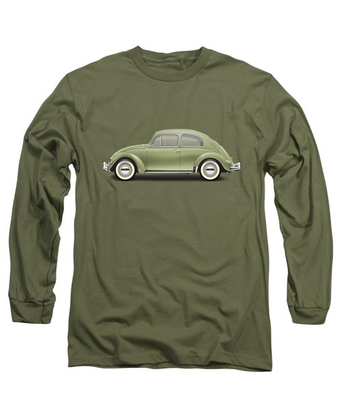 1957 Volkswagen Deluxe Sedan - Diamond Green Long Sleeve T-Shirt by Ed Jackson