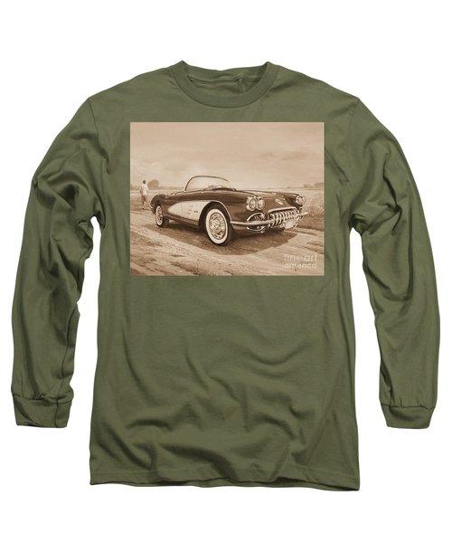 1959 Chevrolet Corvette Cabriollet In Sepia Long Sleeve T-Shirt