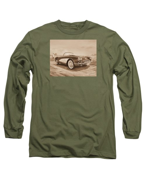 1959 Chevrolet Corvette Cabriollet In Sepia Long Sleeve T-Shirt