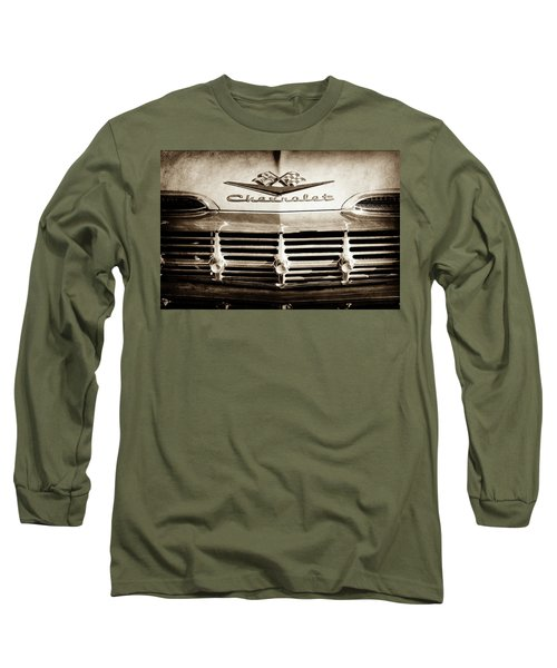 Long Sleeve T-Shirt featuring the photograph 1959 Chevrolet Impala Grille Emblem -1014s by Jill Reger