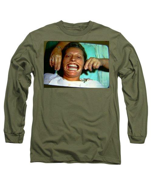 Long Sleeve T-Shirt featuring the photograph 1960s Dental Exam by Peter Gumaer Ogden