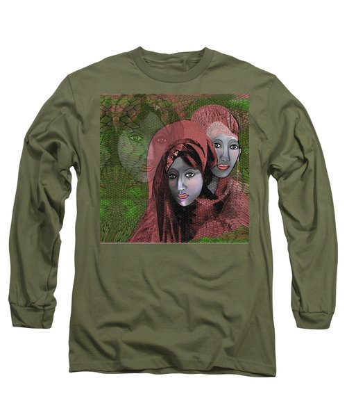 Long Sleeve T-Shirt featuring the digital art 1974 - Women In Rosecoloured Clothes - 2017 by Irmgard Schoendorf Welch