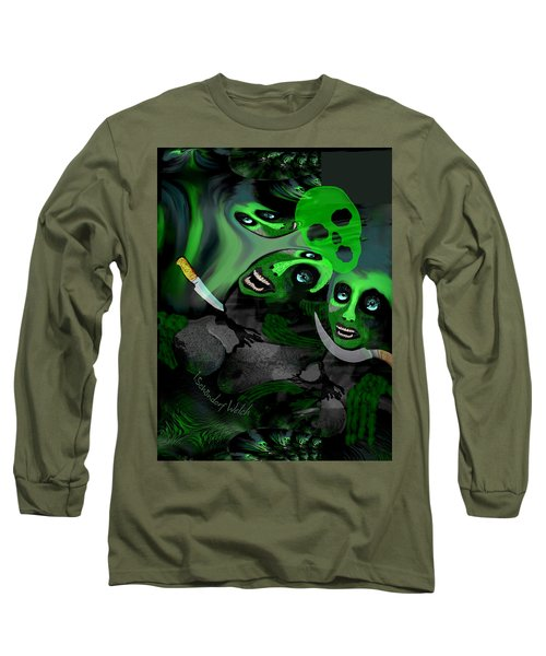 Long Sleeve T-Shirt featuring the digital art  1982 Violence And Fear 2017 by Irmgard Schoendorf Welch