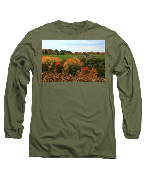 Barn On Autumn Hillside Long Sleeve T-Shirt by Angela Rath