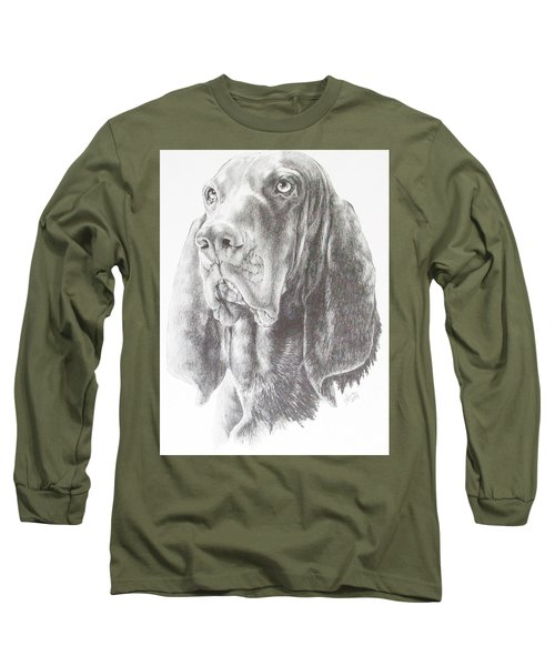 Long Sleeve T-Shirt featuring the drawing Black And Tan Coonhound by Barbara Keith