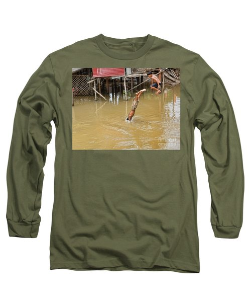 2 Cambodian Boys Dive Color Long Sleeve T-Shirt by Chuck Kuhn