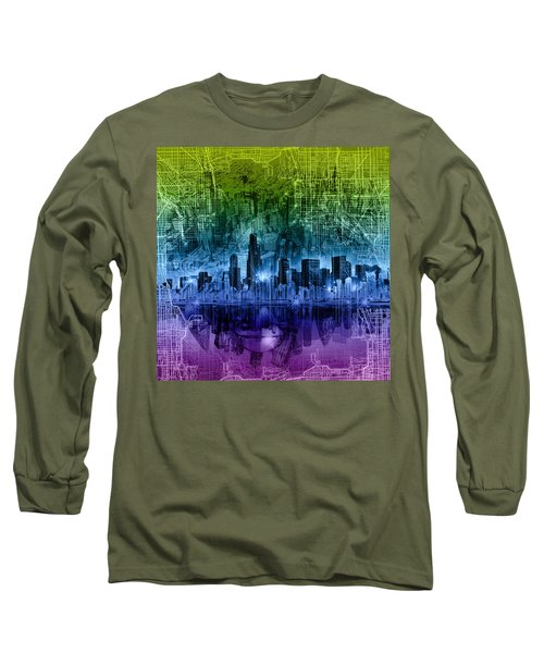 Chicago Skyline Abstract Long Sleeve T-Shirt