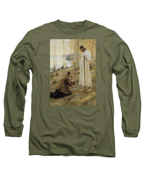 Christ And Mary Magdalene Long Sleeve T-Shirt by Albert Edelfelt