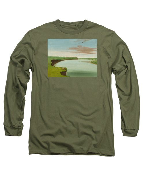 Distant View Of The Mandan Village Long Sleeve T-Shirt by George Catlin