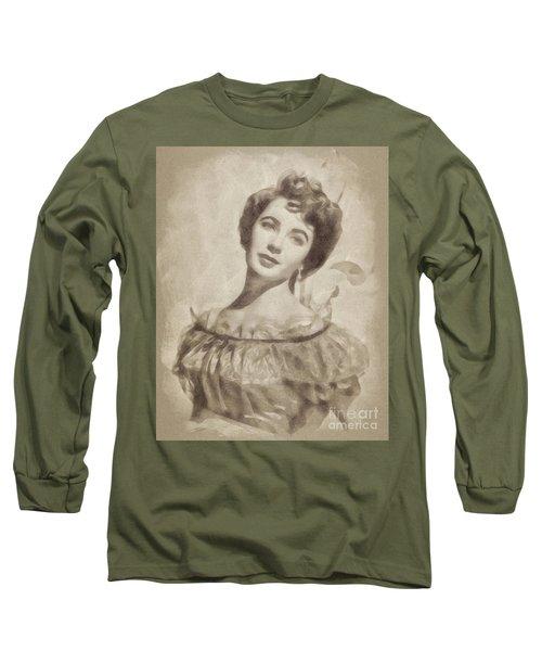 Elizabeth Taylor, Vintage Hollywood Legend By John Springfield Long Sleeve T-Shirt