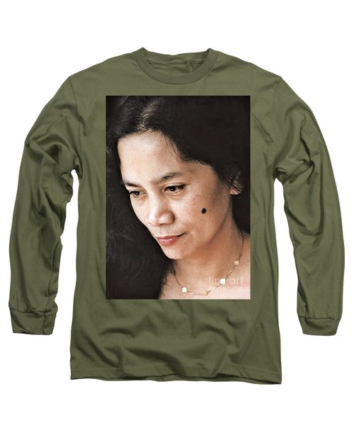 Long Sleeve T-Shirt featuring the photograph Filipina Beauty With A Mole On Her Cheek by Jim Fitzpatrick