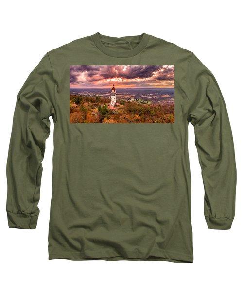 Heublein Tower, Simsbury Connecticut, Cloudy Sunset Long Sleeve T-Shirt by Petr Hejl