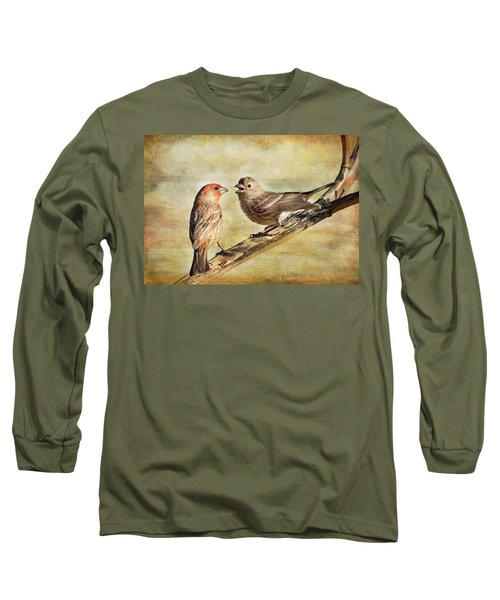2 Little Love Birds Long Sleeve T-Shirt by Barbara Manis