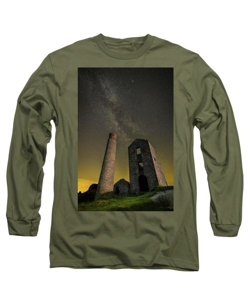 Milky Way Over Old Mine Buildings. Long Sleeve T-Shirt