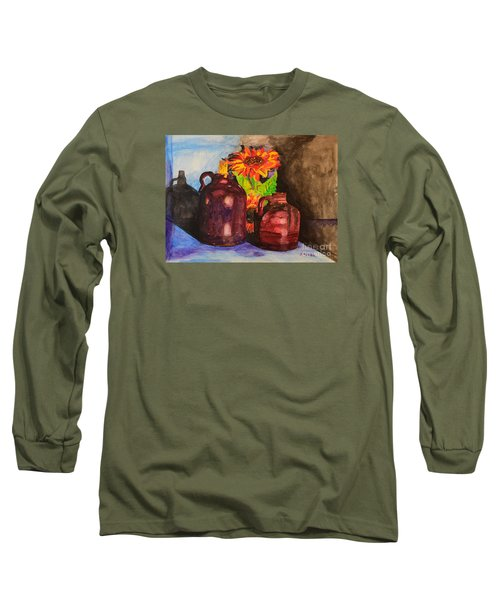 Long Sleeve T-Shirt featuring the painting 2 Old Jugs 1.. by Melvin Turner