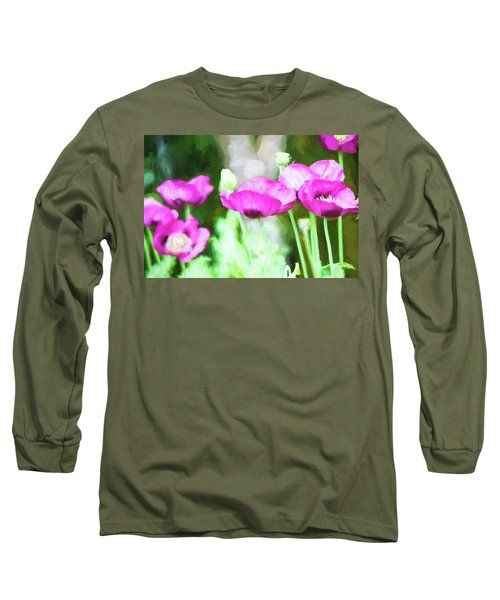 Poppies Long Sleeve T-Shirt by Bonnie Bruno