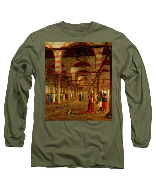 Long Sleeve T-Shirt featuring the painting Prayer In The Mosque by Jean-Leon Gerome