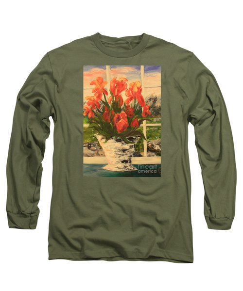 Long Sleeve T-Shirt featuring the painting Tulips by Nancy Czejkowski