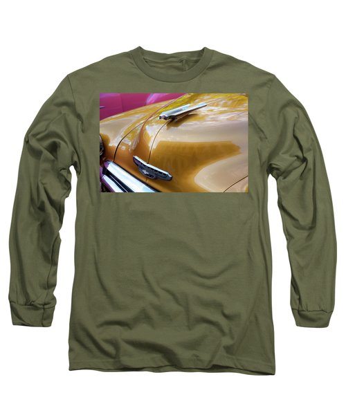 Long Sleeve T-Shirt featuring the photograph Vintage Chevy Hood Ornament Havana Cuba by Charles Harden