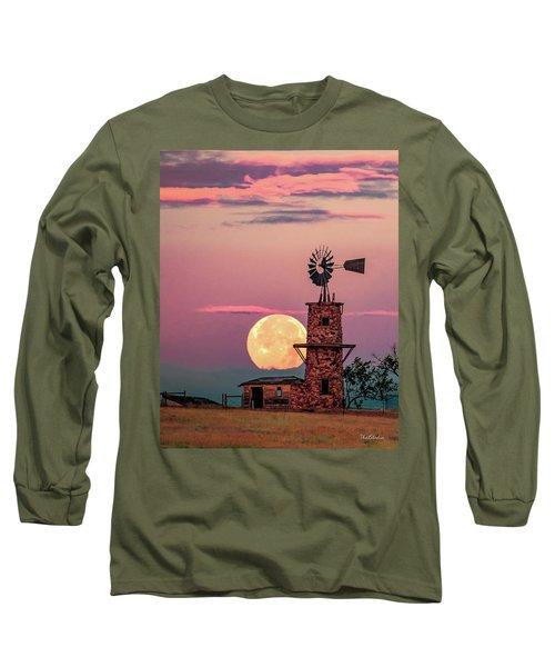 Windmill At Moonset Long Sleeve T-Shirt