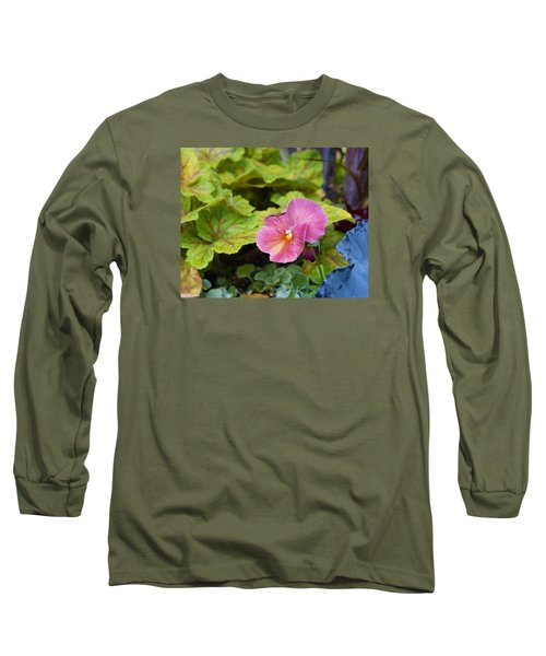 2015 After The Frost At The Garden Pansies 3 Long Sleeve T-Shirt by Janis Nussbaum Senungetuk