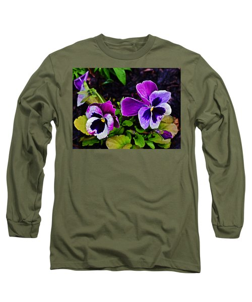 2015 Spring At Olbrich Gardens Violet Pansies Long Sleeve T-Shirt