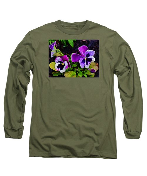 2015 Spring At Olbrich Gardens Violet Pansies Long Sleeve T-Shirt