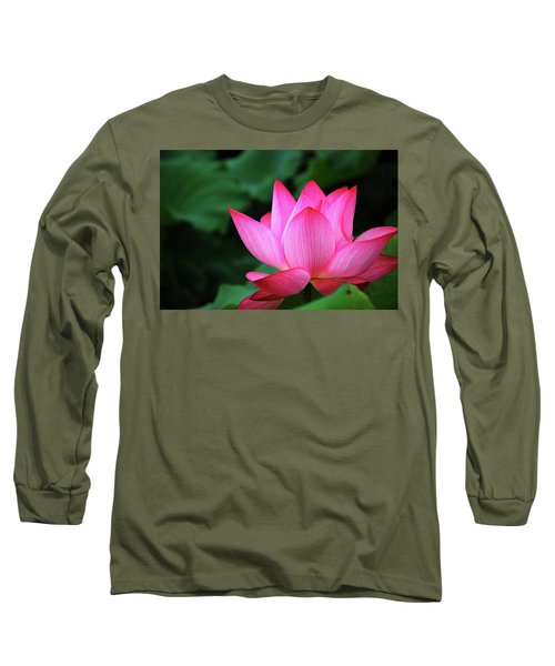 Blossoming Lotus Flower Closeup Long Sleeve T-Shirt