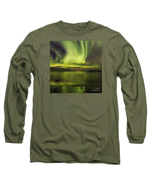 Northern Lights Reykjavik Long Sleeve T-Shirt by Gunnar Orn Arnason
