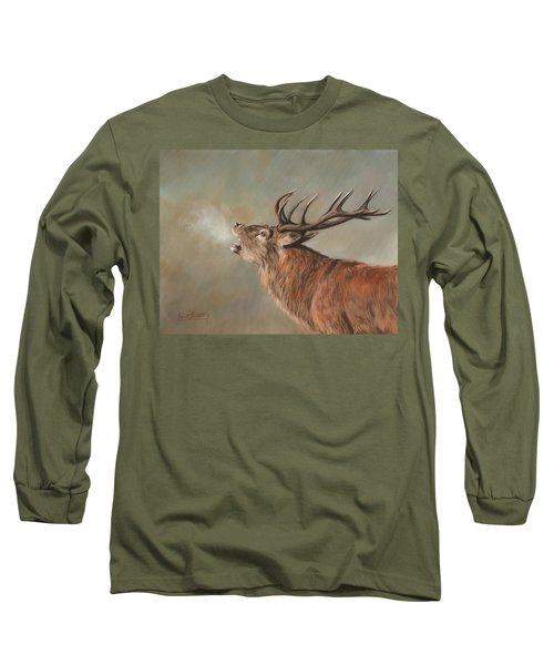 Long Sleeve T-Shirt featuring the painting Red Deer Stag by David Stribbling