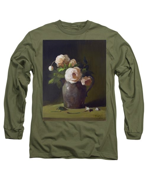 3 Roses In Silver Pitcher Long Sleeve T-Shirt
