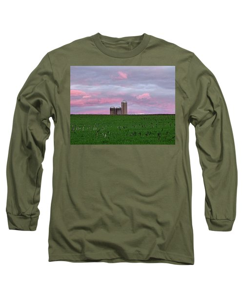 Long Sleeve T-Shirt featuring the photograph 3 Silos by Robert Geary