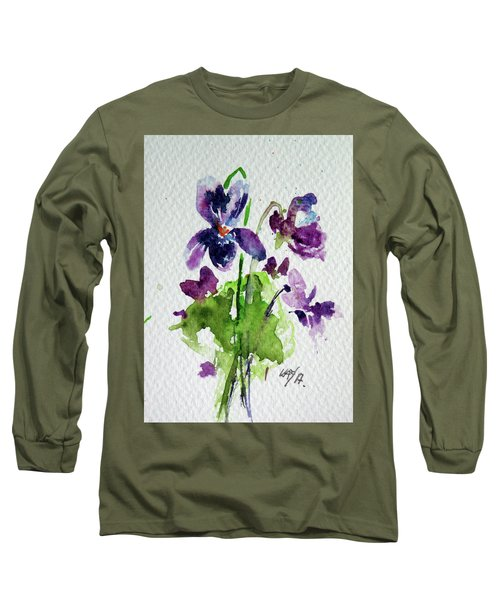 Long Sleeve T-Shirt featuring the painting Violet by Kovacs Anna Brigitta