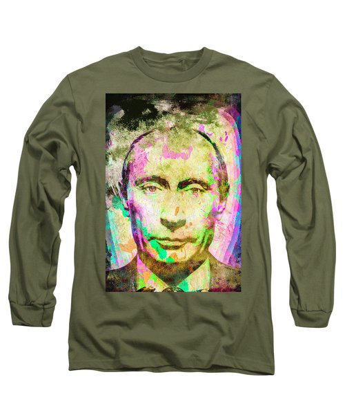 Long Sleeve T-Shirt featuring the mixed media Vladimir Putin by Svelby Art