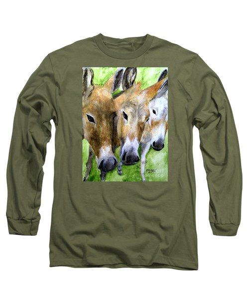 Long Sleeve T-Shirt featuring the painting 3 Wise Mules by Carol Grimes