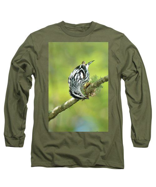 Black And White Warbler Long Sleeve T-Shirt by Alan Lenk