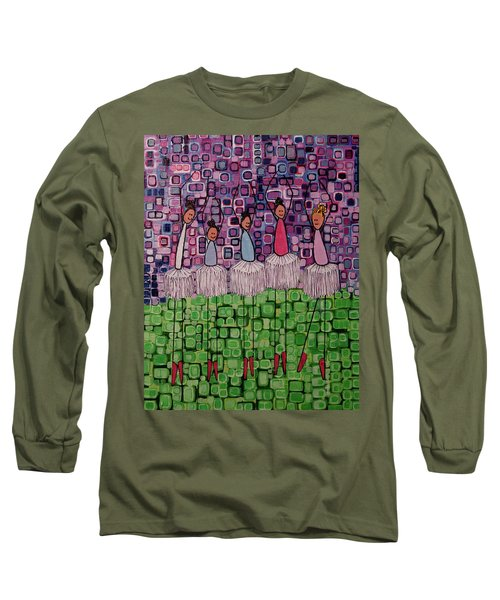 Long Sleeve T-Shirt featuring the painting 4 Non-blondes by Donna Howard