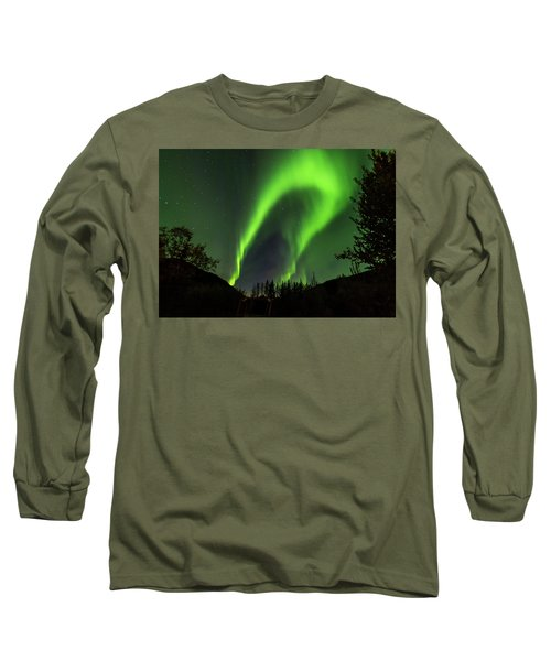 Northern Lights, Aurora Borealis At Kantishna Lodge In Denali National Park Long Sleeve T-Shirt by Brenda Jacobs