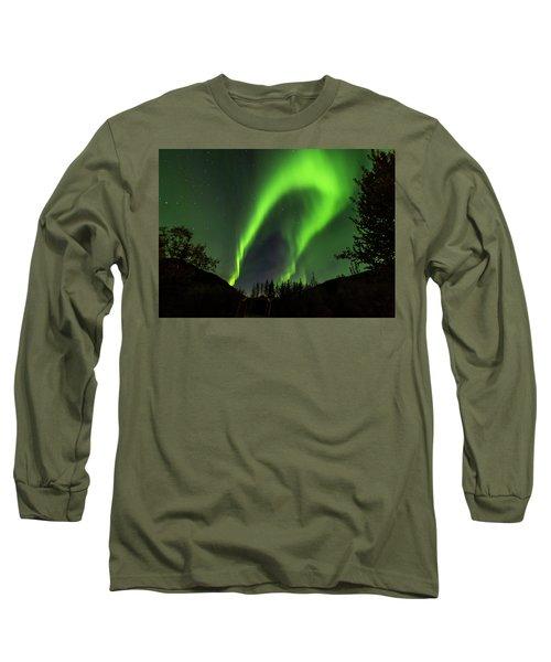 Northern Lights, Aurora Borealis At Kantishna Lodge In Denali National Park Long Sleeve T-Shirt