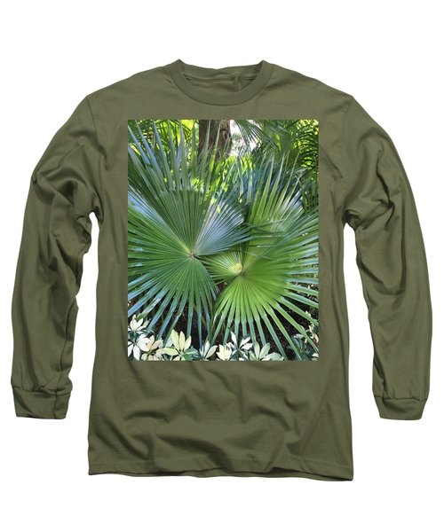 Palm Fronds Long Sleeve T-Shirt by Kay Gilley