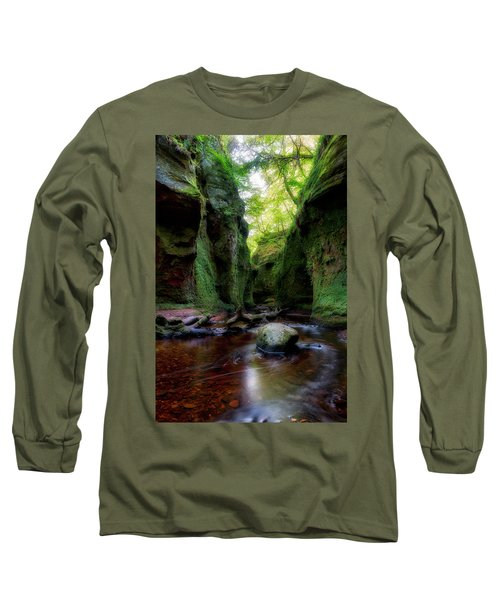 The Devil Pulpit At Finnich Glen Long Sleeve T-Shirt by Jeremy Lavender Photography