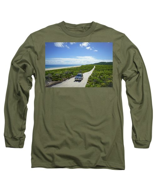 4wd Car Exploring Remote Track On Sand Island Long Sleeve T-Shirt