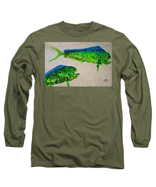 Gyotaku - Mahi Mahi - Dorado - Dolphinfish Long Sleeve T-Shirt